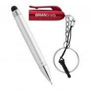 Promotional Product Matte Silver Ballpoint Pen Stylus Keychain