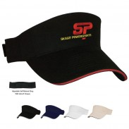 Promotional Black Brushed Cotton TwillSandwi ch Visor Sport Cap