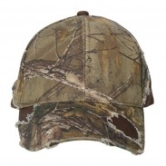 Promotional brushed cotton twill Structured Headwear  Camo Cap With Fray