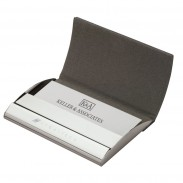 business card case with magnetic flap closure