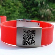 "1/2""Solid Customized Logo Silicone Wristband with 2 clips"