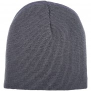 Embroidery Acrylic rib knit black outdoor beanie