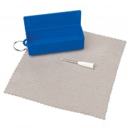 Eyeglass Tool With Cleaning Cloth Keychian