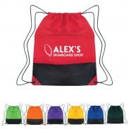 Promo Non-Woven Two-Tone Drawstring Backpacks