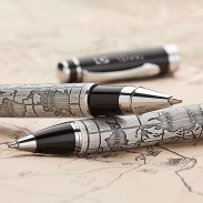 High Quality Chrome Plated Brass Rollerball Pen Antique World Map