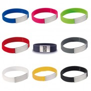 "1/2""Solid Color Silicone Wristband with Printed QR Code"