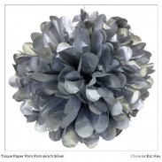 Promotional Tissue Paper  Flower Ball 4 inch Silver