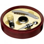 Red Stainless Steel  Round Multi-functional Openner Set (4-in-1 Piece)