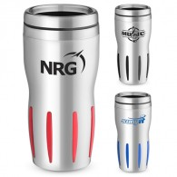 double wall thermos stainless steel coffee mug with TPR (16oz.)