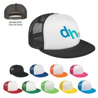 Customized Black-White Flat Bill Trucker Visors Sports Mesh Back Cap