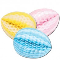 Honeycomb Ball Paper Decoration- Striped Tissue Egg, 12 inch (1/pkg)