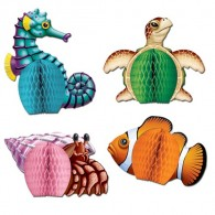 Honeycomb Ball Paper Decoration- Sea Creatures Centerpieces (4/pkg)