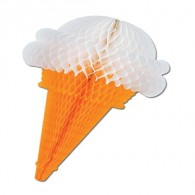 Honeycomb Ball Paper Decoration-Tissue Ice Cream Cone, 15 inches