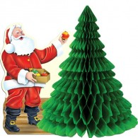 Honeycomb Ball Paper Decoration-Santa with Tissue Tree