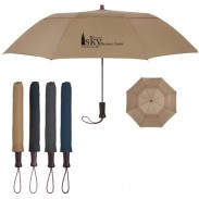 Promotional Arc Telescopic Folding Wood Handle Umbrella with DIY LOGO