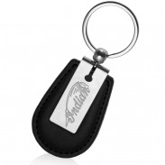 Black Leather and Matte Silver Keychains