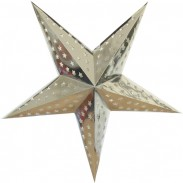 Dia 18 Inch Silver Foil Patterned 5 Points Paper Star