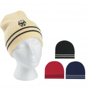 Promotional Acrylic Outdoor  Ribbed Knit Beanie with Double Stripe