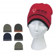 Promotional Embroidered Knit Beanie With Double Stripe
