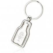 Swivel Bottle Metal Chrome Keychain