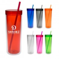 16oz. Straight Double Wall Straw Tumbler