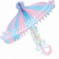 Honeycomb Ball Paper Decoration-  Pink and Light Blue Tissue Parasol
