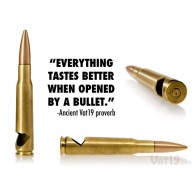 Bottle opener crafted from demilitarized bullet casings