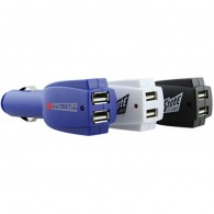 Black & White Color USB Car Charger With Two USB Connectors