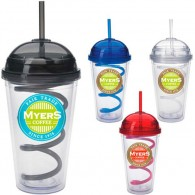 Promotional PS Spherical Cap Spiral Straw with DIY LOGO