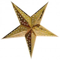 Dia 24 Inch Silver Foil Patterned 5 Points Paper Star