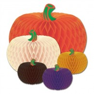 Honeycomb Ball Paper Decoration-Package of Designer Tissue Pumpkins (5 Pumpkins Per Package)