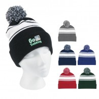 Promotional Black 100% Acrylic Two-Tone Knit Pom Beanie With Cuff