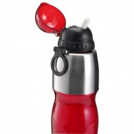 Transparent plastic and stainless steel 800ml sports bottle